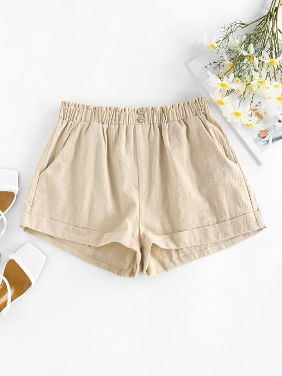 women ZAFUL Pocket Mock Button Ruffle Rolled Shorts - LIGHT COFFEE S
