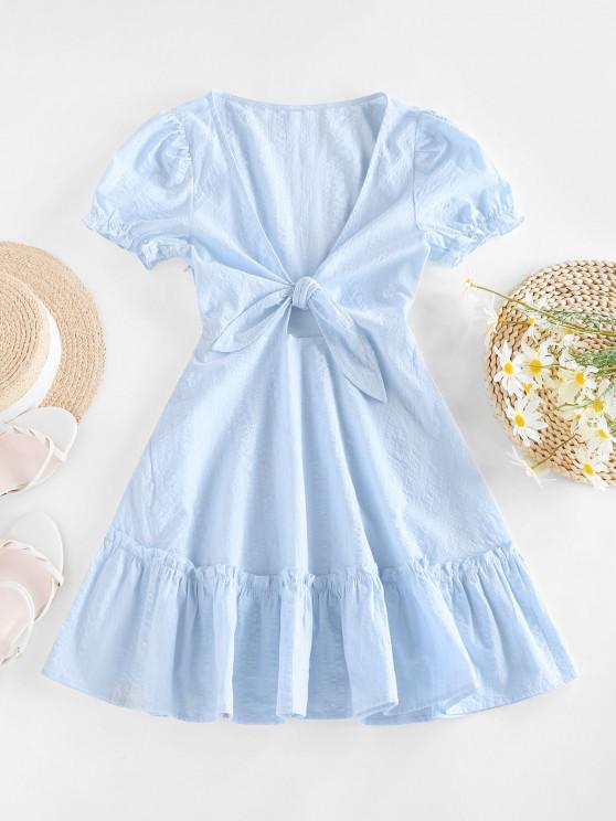 outfits ZAFUL Tied Ruffle Flippy Hem Dress - LIGHT BLUE L
