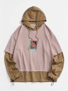 Graphic Colorblock Faux Twinset Hoodie - Deep Coffee L