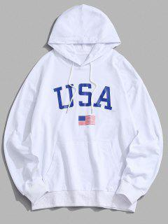 USA American Flag Print Drop Shoulder Hoodie - White Xl