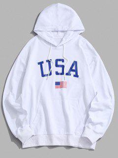 USA American Flag Print Drop Shoulder Hoodie - White 2xl