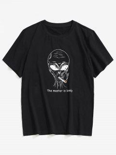 ZAFUL Buchstabe Cartoon Muster T-Shirt - Schwarz S