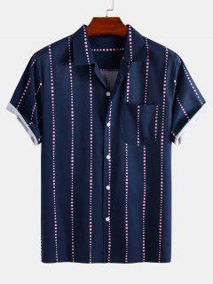 Polka Dot Stripe Short Sleeve Shirt - Deep Blue 2xl