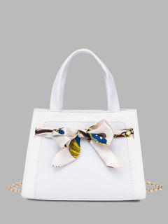 Lizard Embossed Scarf Bow Chain Tote Bag - White