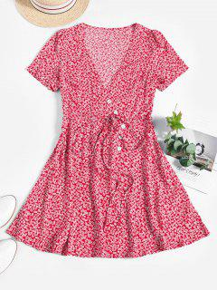 ZAFUL Ditsy Floral Surplice Mini Belted Dress - Red S