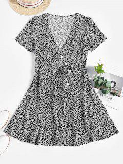 ZAFUL Mini Vestido Floral De Cintura Alta Con Cinturón - Negro S