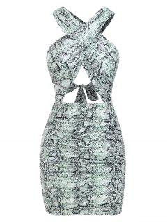 Ruched Cut Out Snake Print Slinky Dress - Green M
