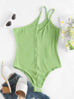 ZAFUL Ribbed One Shoulder Cutout Topstitch Bodysuit - Light Green M