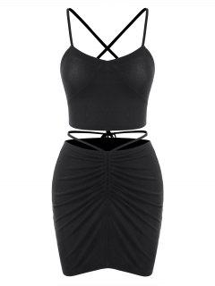 Criss Cross Cinched Jersey Two Piece Dress - Black M