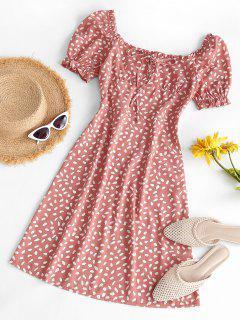 Speckled Ruffle Puff Sleeve Bowknot Dress - Light Orange S