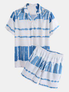 Tie Dye Print Shirt And Shorts Two Piece Set - White 2xl