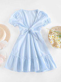 ZAFUL Robe Nouée Ourlet à Volants - Bleu Clair M