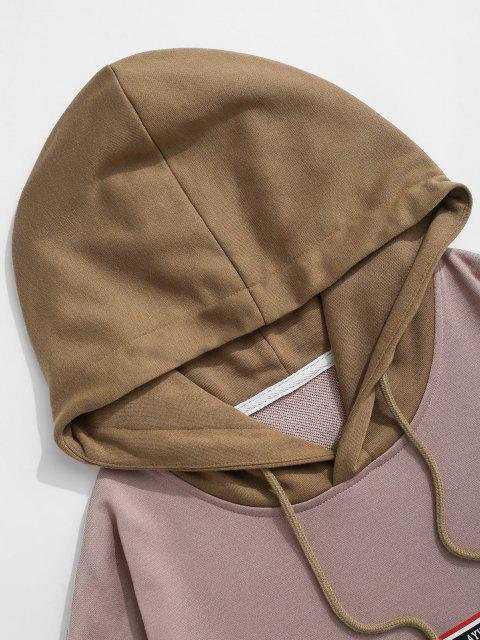 latest Graphic Colorblock Faux Twinset Hoodie - DEEP COFFEE M Mobile