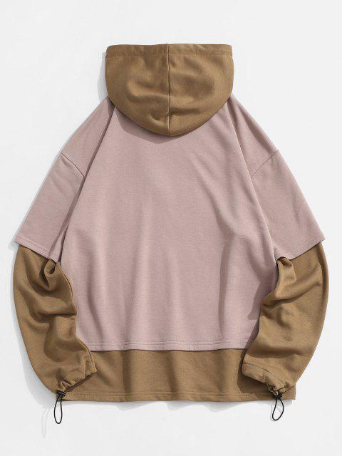 women's Graphic Colorblock Faux Twinset Hoodie - DEEP COFFEE L Mobile