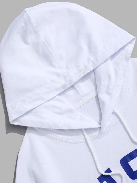 buy USA American Flag Print Drop Shoulder Hoodie - WHITE L Mobile