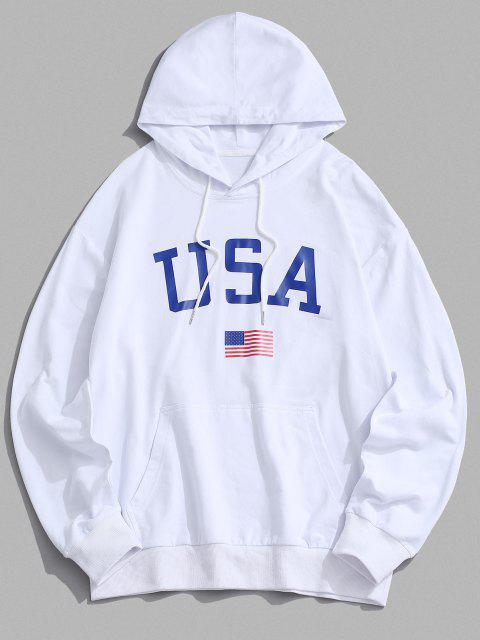 new USA American Flag Print Drop Shoulder Hoodie - WHITE 2XL Mobile