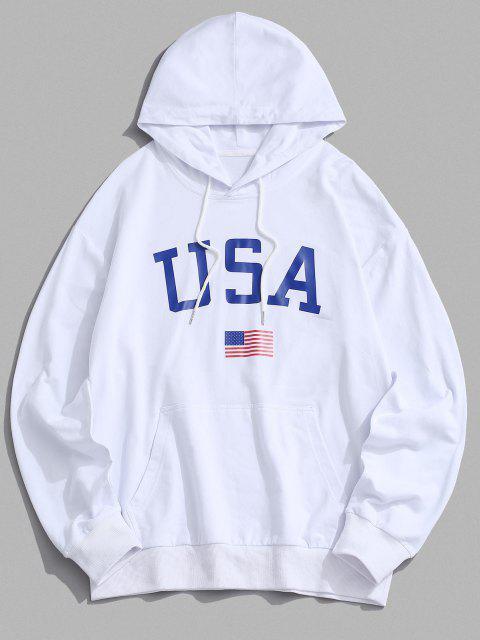 new USA American Flag Print Drop Shoulder Hoodie - WHITE 2XL Mobile