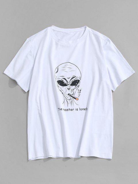 ZAFUL Camiseta con Patrón de Letras - Blanco S Mobile