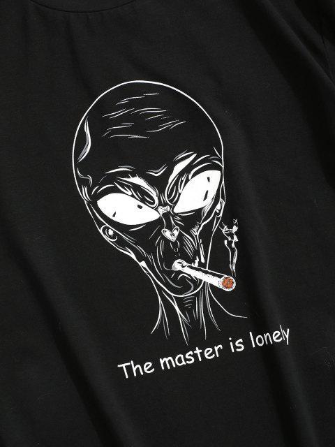 ZAFUL Camiseta con Patrón de Letras - Negro S Mobile