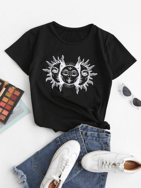 unique Suns Graphic Funny Basic Tee - BLACK M Mobile