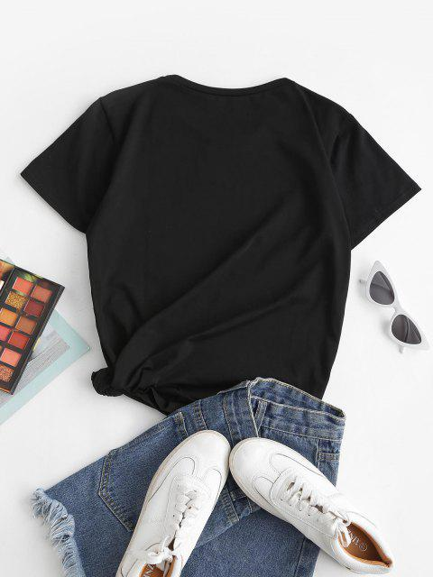 Freitag Druck Grafisches Grundlegendes T-Shirt - Schwarz L Mobile