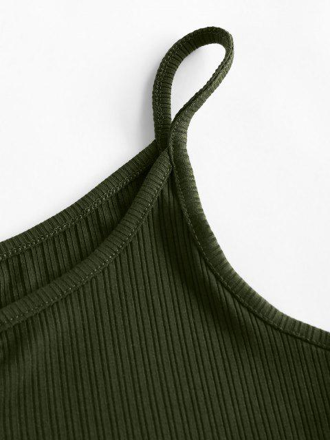 women ZAFUL Ribbed V Notched Crop Camisole - DEEP GREEN S Mobile