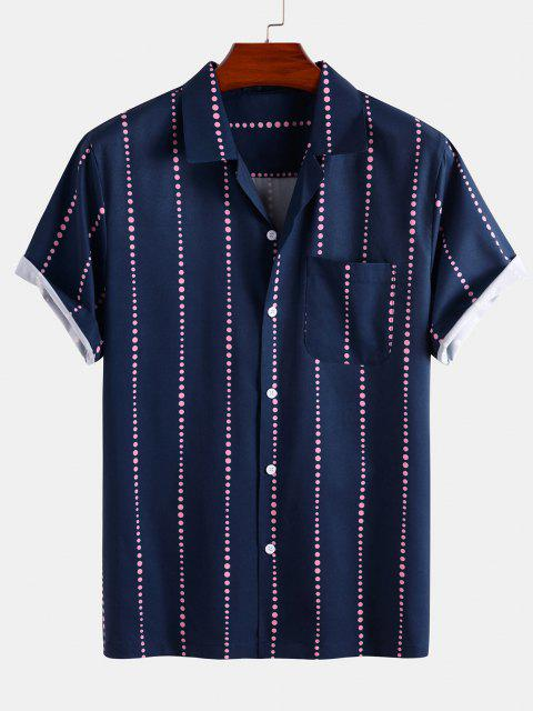 chic Polka Dot Stripe Short Sleeve Shirt - DEEP BLUE S Mobile