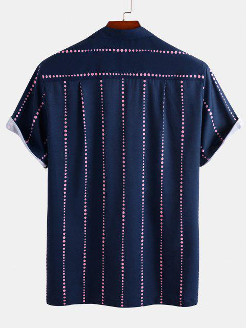 best Polka Dot Stripe Short Sleeve Shirt - DEEP BLUE XL Mobile