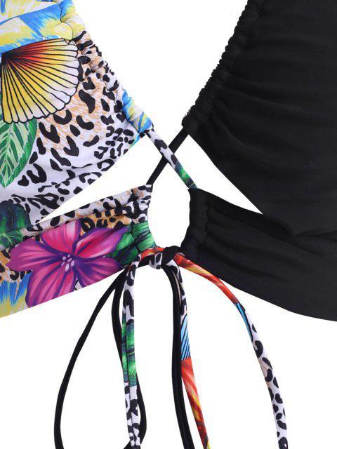 ZAFUL Biquíni Tropical Cruzado de Impressão de Leopardo - Preto XL Mobile
