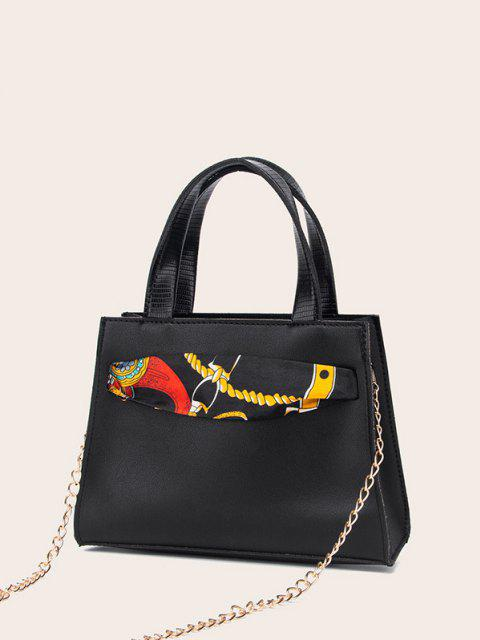 outfit Lizard Embossed Scarf Bow Chain Tote Bag - BLACK  Mobile