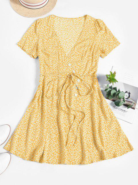 shops ZAFUL Ditsy Floral Surplice Mini Belted Dress - LIGHT YELLOW S Mobile