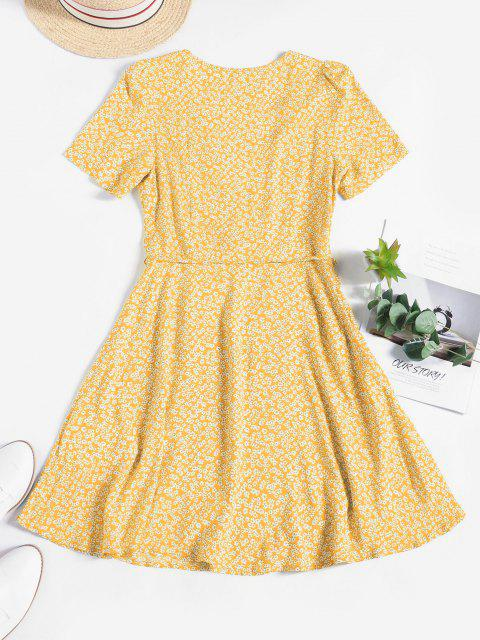 ZAFUL Ditsy Floral Surplice Mini Belted Dress - أصفر فاتح S Mobile