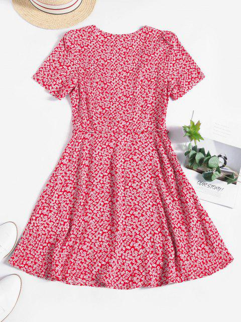 womens ZAFUL Ditsy Floral Surplice Mini Belted Dress - RED L Mobile