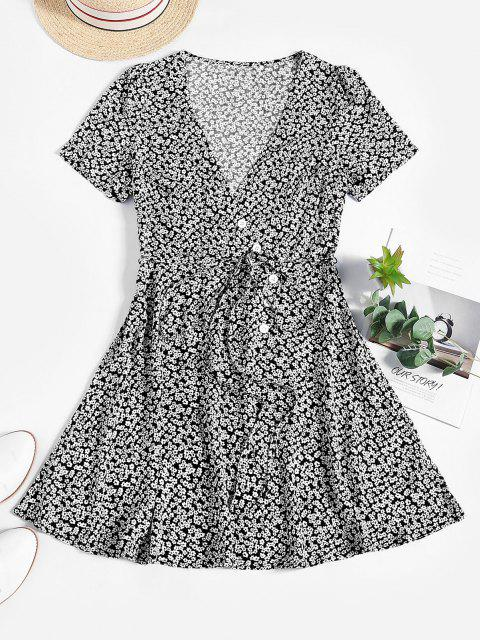 women's ZAFUL Ditsy Floral Surplice Mini Belted Dress - BLACK M Mobile