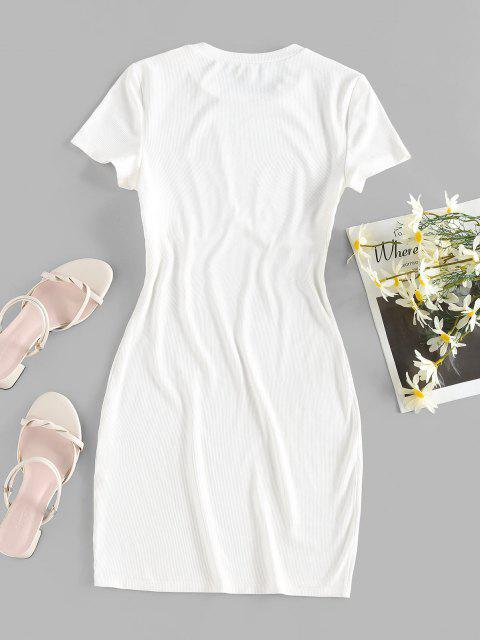 outfit ZAFUL Ribbed Fitted Plain Tee Dress - WHITE M Mobile