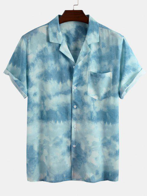 online Cloud Tie Dye Print Short Sleeve Shirt - LIGHT BLUE XL Mobile