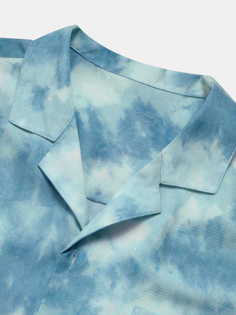 Camicia con Stampa Tinta a Nodi a Nuvola e Maniche Corte - Azzurro 2XL Mobile