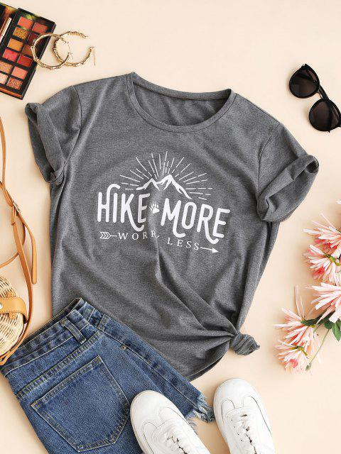 women Funny HIKE MORE WORRY LESS Graphic Tee - GRAY M Mobile