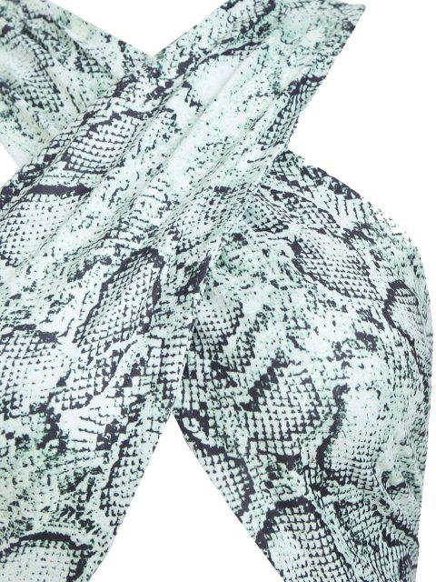 sale Ruched Cut Out Snake Print Slinky Dress - GREEN M Mobile