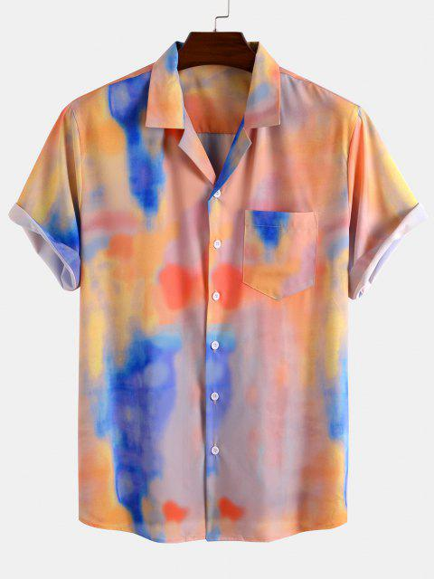Tie Dye Print Pocket Patch Short Sleeve Shirt - وردي فاتح S Mobile