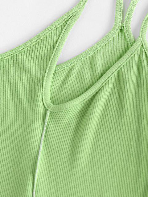 ZAFUL Gerippter Einziger Schulter Schnürsenkel Am Meisten Kopfzähne U Ausschnitt Bodysuit - Hellgrün S Mobile