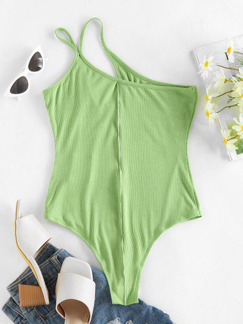 womens ZAFUL Ribbed One Shoulder Cutout Topstitch Bodysuit - LIGHT GREEN L Mobile