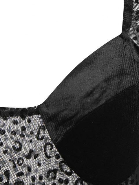 Bustier Leopard Roboter Maschen Bodysuit - Schwarz L Mobile