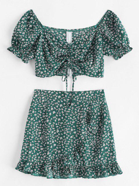 Vestido Retro de Dos Piezas con Escote en Corazón - Verde Oscuro L Mobile
