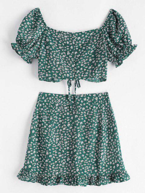 fashion Ditsy Floral Cinched Sweetheart Two Piece Dress - DEEP GREEN M Mobile