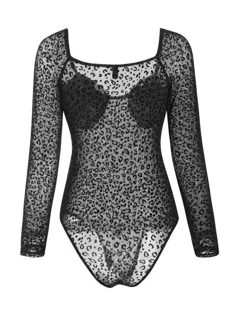 chic Bustier Leopard Flocked Mesh Bodysuit - BLACK M Mobile