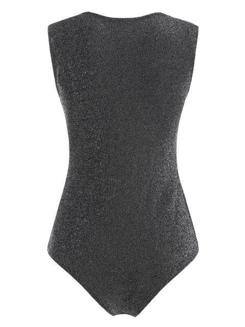 Gepolsterter Metallischer Glitter Bodysuit - Grau L Mobile