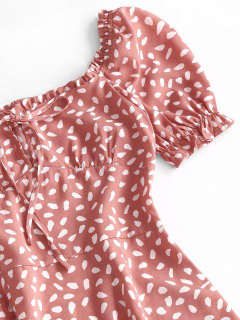affordable Speckled Ruffle Puff Sleeve Bowknot Dress - LIGHT ORANGE S Mobile