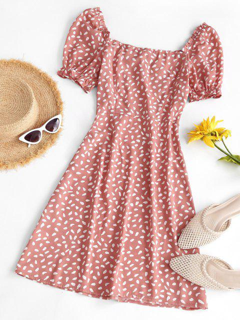 affordable Speckled Ruffle Puff Sleeve Bowknot Dress - LIGHT ORANGE L Mobile