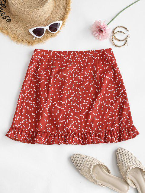 ladies Heart Print Ruffle Mini Skirt - RED XL Mobile